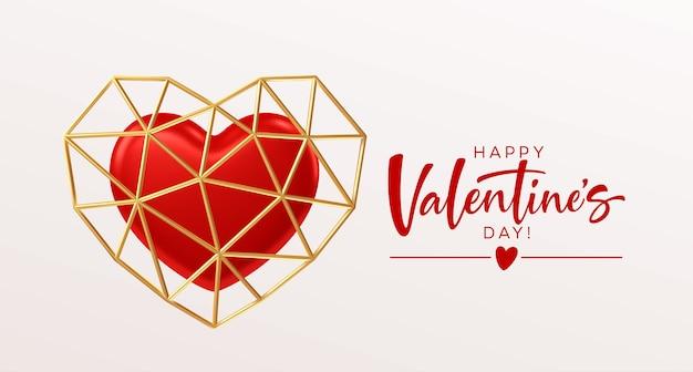 Diseño de plantilla de día de san valentín con corazón rojo y marco dorado en forma de corazón de baja poli.