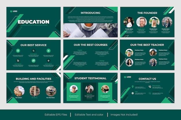Diseño de plantilla de diapositiva de presentación de powerpoint de educación o plantilla de presentación de educación verde