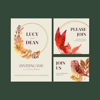 Diseño de plantilla diaria de otoño para invitación de boda y acuarela de invitación