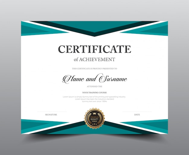 Diseño de plantilla de diseño de certificado. lujo y estilo moderno, obra de arte.