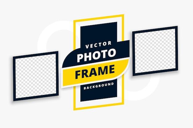 Diseño de plantilla con dos marcos de fotos.
