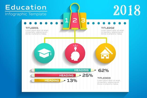 Diseño de plantilla de educación infografía con elementos de la escuela