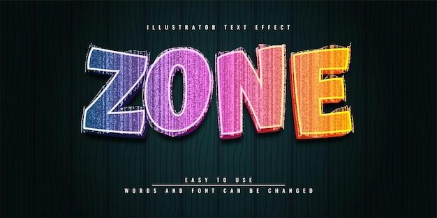 Diseño de plantilla de efecto de texto 3d editable colorido de zone illustrator