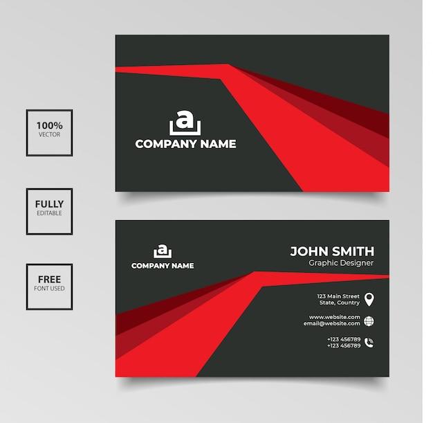 Diseño de plantilla de elegancia de tarjeta de visita roja y negra