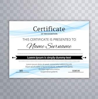 Diseño de plantilla elegante azul ondulado certificado