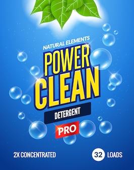 Diseño de plantilla de embalaje de detergente para ropa. diseño en polvo detergente concepto fresco de detergente limpio bajo el agua