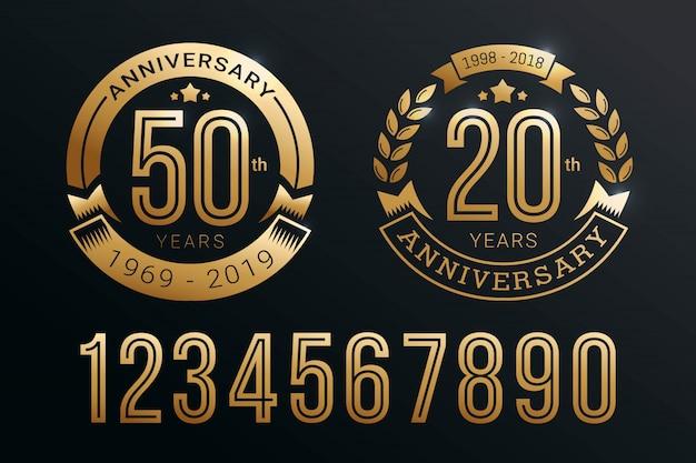 Diseño de plantilla de emblema de aniversario con estilo de número de oro
