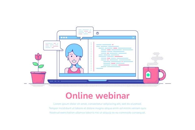 Diseño de plantilla de estilo plano para seminario web en línea
