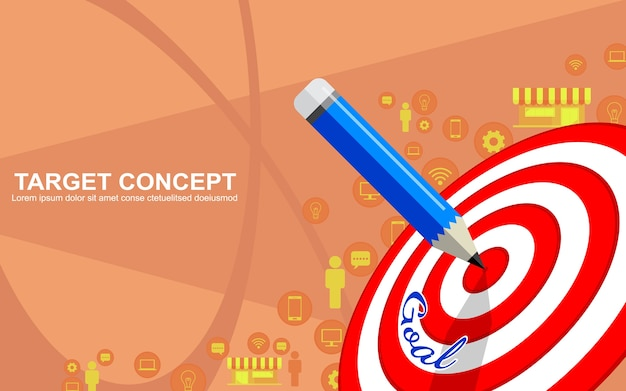 Diseño de plantilla de estrategia de negocio de marketing de destino. dardos objetivo, lápiz e icono de fondo