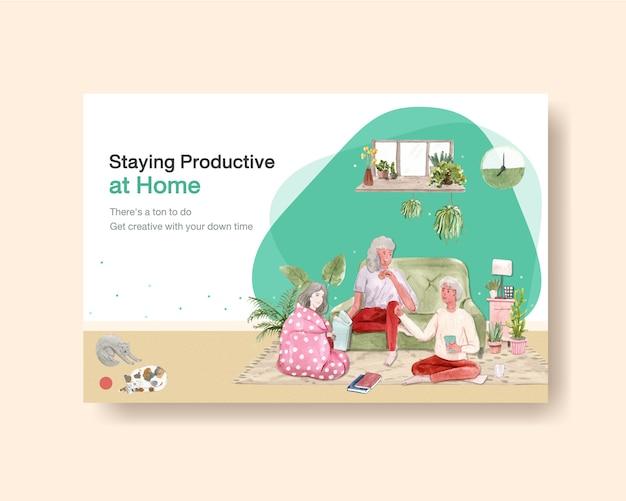 El diseño de la plantilla de facebook se queda en casa con el carácter de las personas y la ilustración de la acuarela de la habitación interior