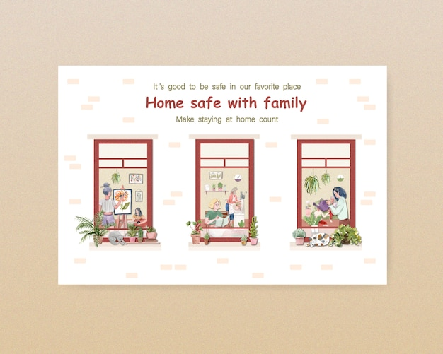 El diseño de la plantilla de facebook se queda en el concepto de hogar con el personaje de las personas y la ilustración de la acuarela de la habitación interior