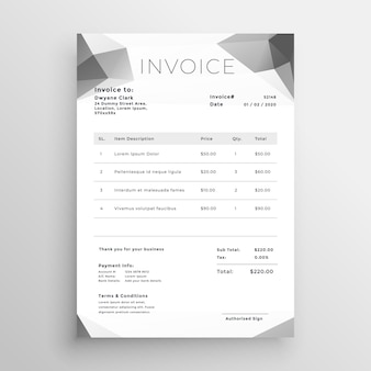 Diseño de plantilla de factura abstracto gris