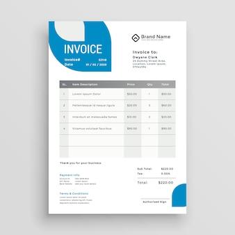 Diseño de plantilla de factura comercial azul