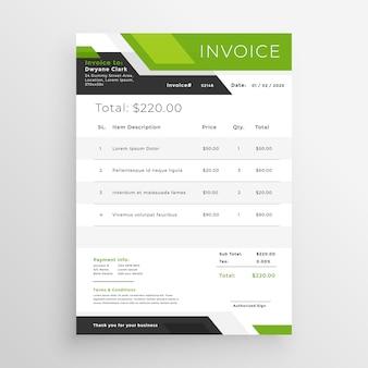 Diseño de plantilla de factura comercial verde