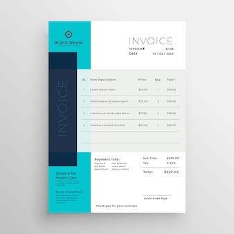 Diseño de plantilla de factura creativa azul moderno