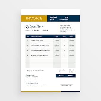 Diseño de plantilla de factura limpia vector