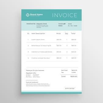 Diseño de plantilla de factura mínima vectorial