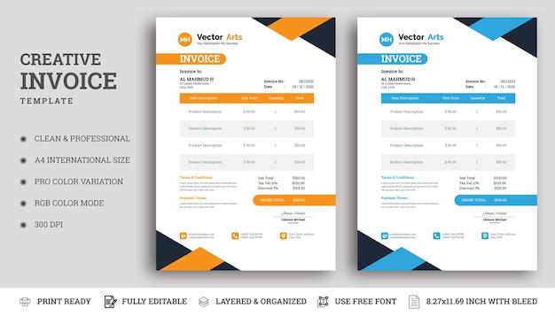 Diseño de plantilla de factura moderna con colores azul y naranja