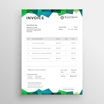 Diseño de plantilla de factura moderno abstracto elegante