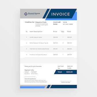Diseño de plantilla de factura de negocios azul elegante