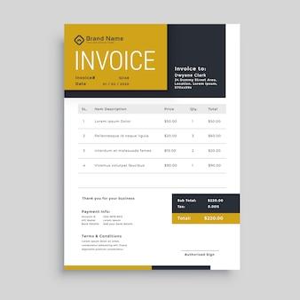 Diseño de plantilla de factura de negocios moderno