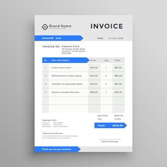 Diseño de plantilla de factura de vector azul gris elegante