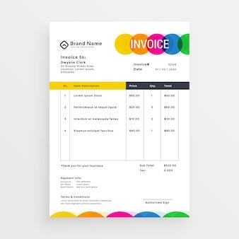 Diseño de plantilla de factura de vector colorido