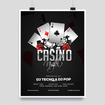 Diseño de plantilla de fiesta de noche de casino con elementos de casino