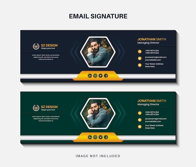 Diseño de plantilla de firma de correo electrónico empresarial creativo o pie de página de correo electrónico y portada de redes sociales personales