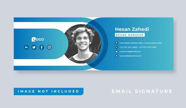 Diseño de plantilla de firma de correo electrónico minimalista personal o pie de página de correo electrónico y portada de redes sociales personales