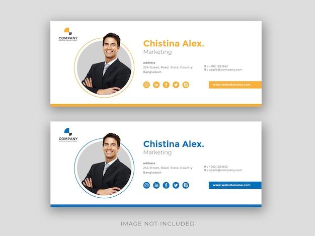 Diseño de plantilla de firma de correo electrónico pie de página de correo electrónico portada de redes sociales personales
