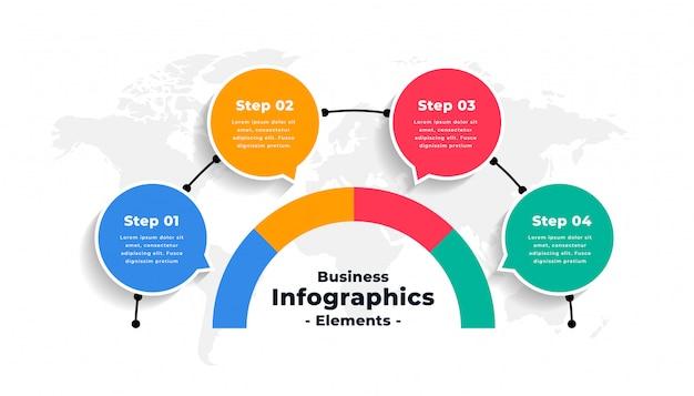 Diseño de plantilla de flujo de trabajo de número de opciones de infografía abstracta