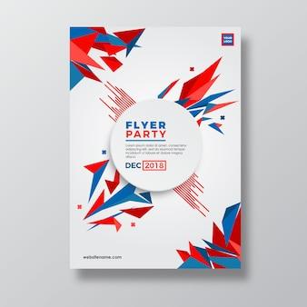 Diseño de plantilla de flyer de estilo abstracto geometría roja y azul