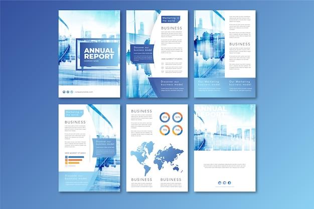 Diseño de plantilla de folleto con ciudad en tonos azules