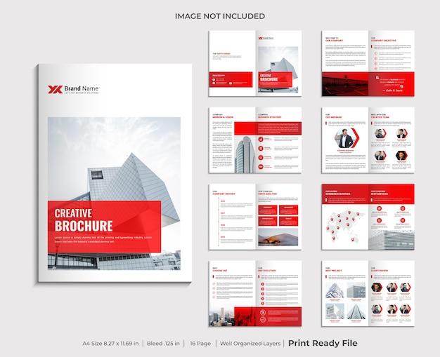 Diseño de plantilla de folleto corporativo minimalista de varias páginas