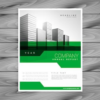 Diseño de plantilla de folleto de empresa geométrica verde abstracto
