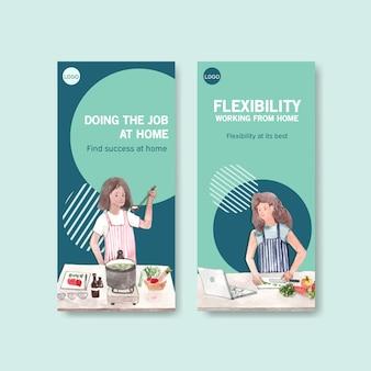 Diseño de plantilla de folleto y folleto con personas que trabajan desde su casa en la cocina. ilustración de vector de acuarela de concepto de oficina en casa
