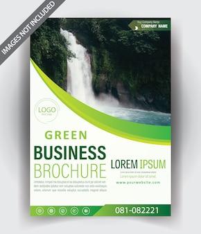 Diseño de plantilla de folleto moderno con color verde