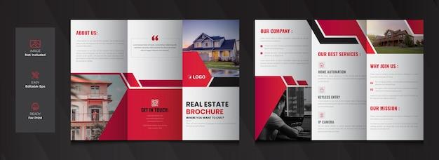 Diseño de plantilla de folleto tríptico de bienes raíces