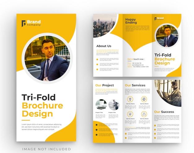 Diseño de plantilla de folleto tríptico corporativo naranja
