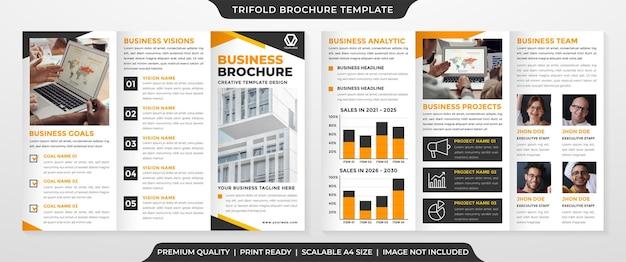 Diseño de plantilla de folleto tríptico con fondo abstracto