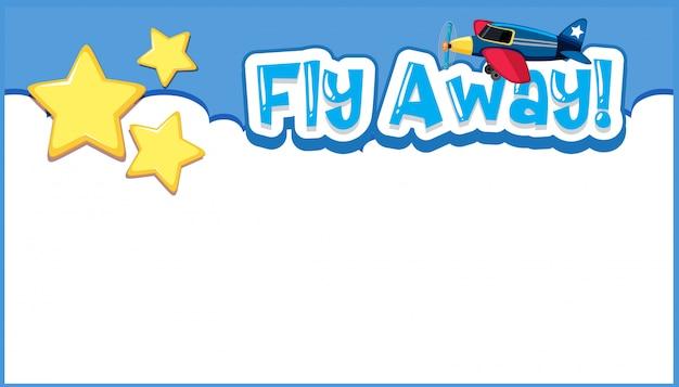 Diseño de plantilla de fondo con avión volando en el cielo