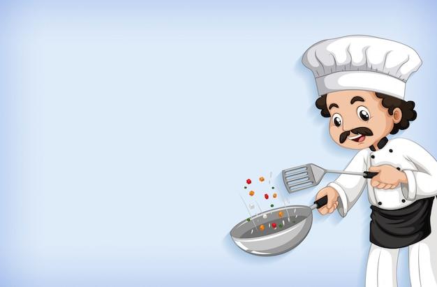 Diseño de plantilla de fondo con chef feliz cocinando