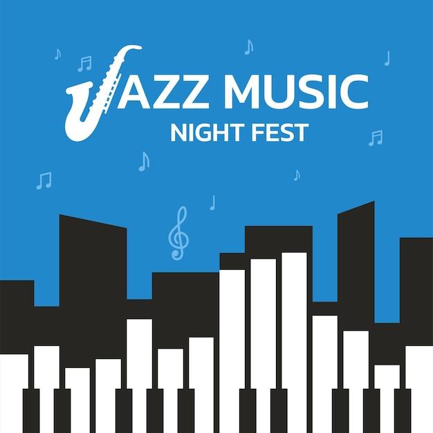 Diseño de plantilla de fondo para festival nocturno de música jazz