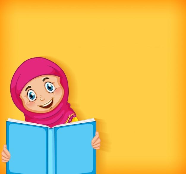 Diseño de plantilla de fondo con libro de lectura de niña musulmana feliz