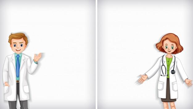 Diseño de plantilla de fondo con médicos masculinos y femeninos