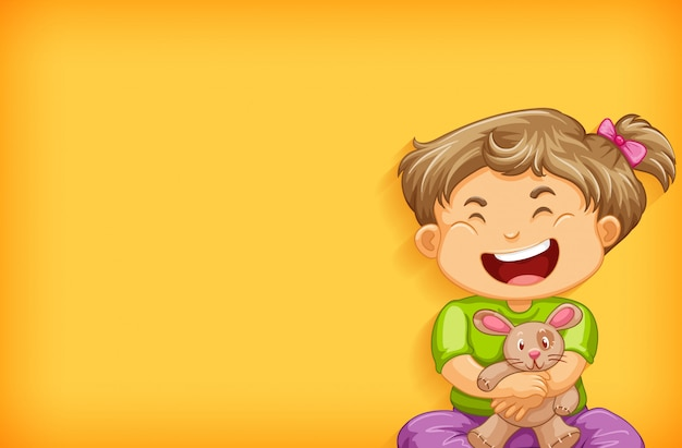 Diseño de plantilla de fondo con niña feliz y muñeca de conejo