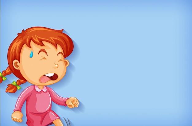 Diseño de plantilla de fondo con niña llorando