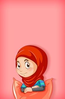 Diseño de plantilla de fondo con niña musulmana feliz en pj rojo