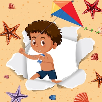 Diseño de plantilla de fondo con niño feliz y estrella de mar